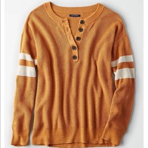 American Eagle | Varsity Stripe Henley Pullover